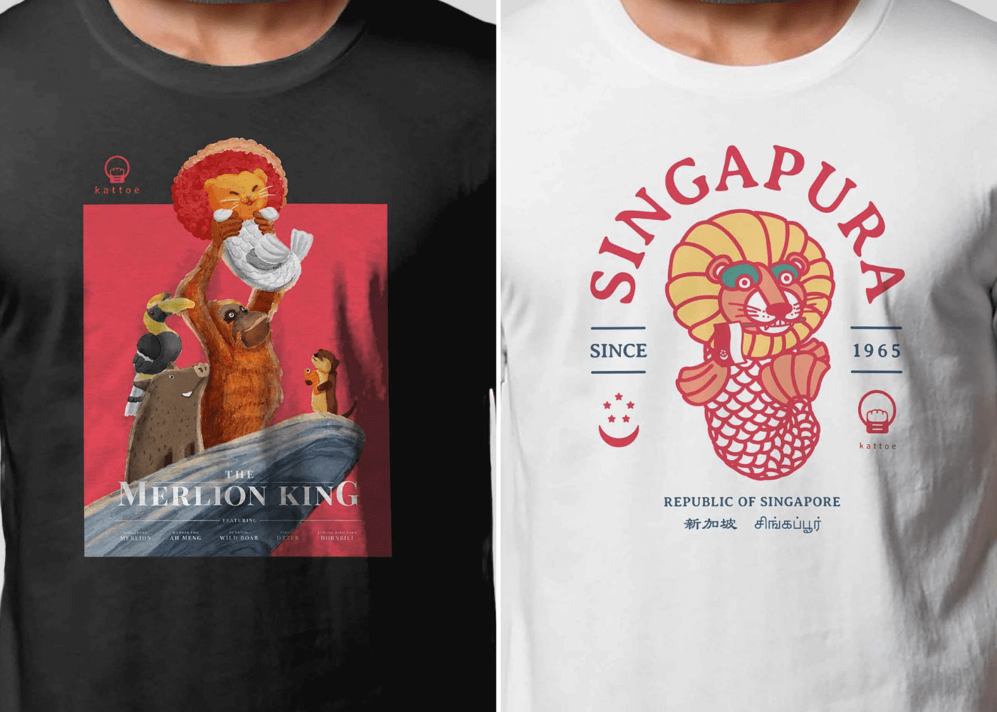 kattoe design merlion tees | singapore souvenirs