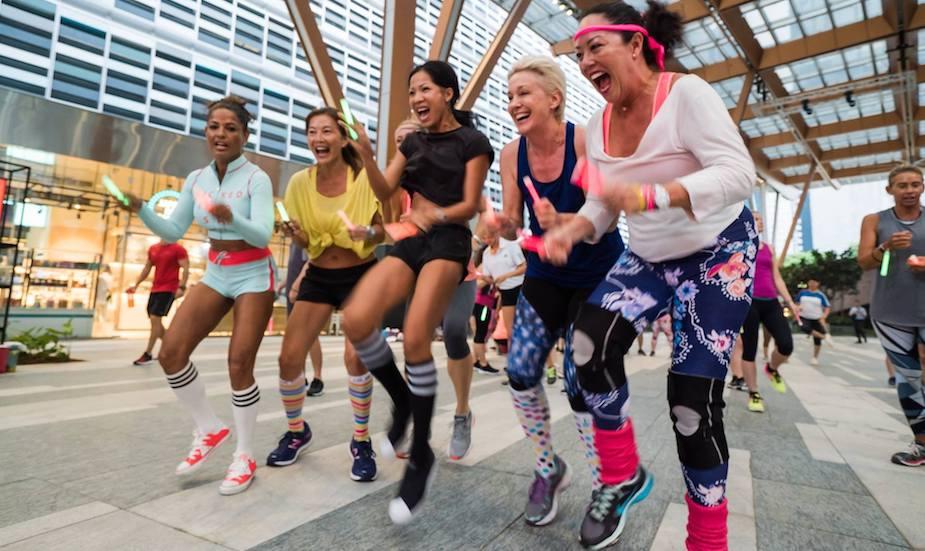 Virgin Active Singapore outdoor workout in Tanjong Pagar Centre