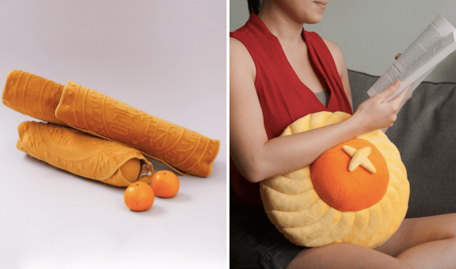 Feast your eyes on this little bolster by Nom Nom Plush that's 100% calorie-free but goes really well with this pineapple tart cushion by Naiise
