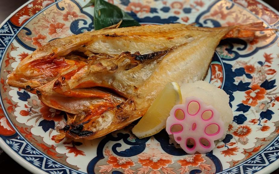 Local seafood at Fuga restaurant at The Kiroro ski resort Hokkaido Japan
