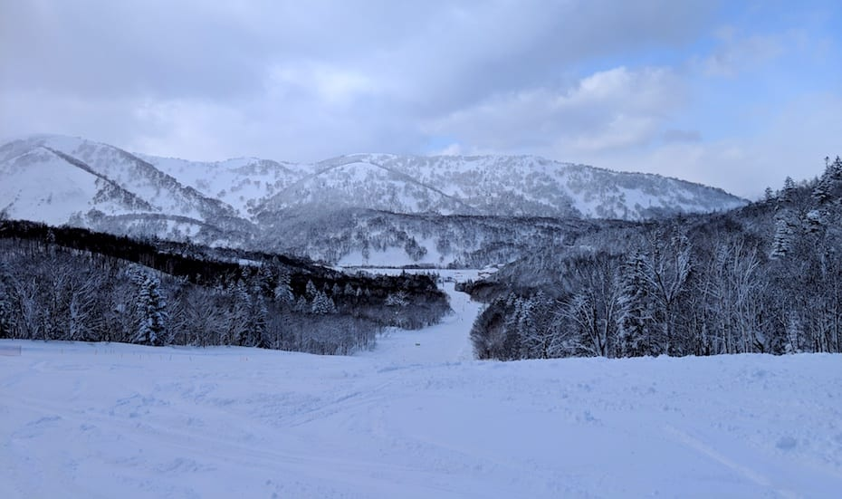 View of the mountains at Kiroro ski resort Hokkaido Japan