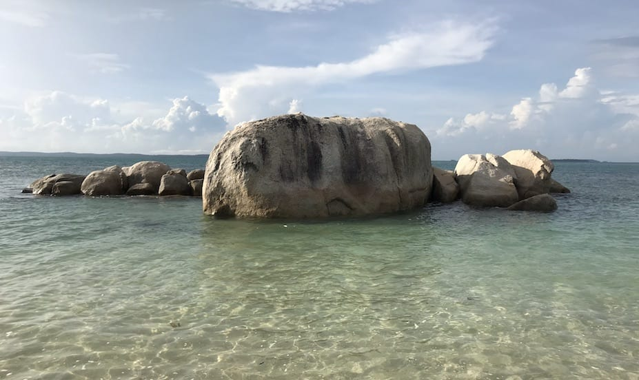 Boulders in the sea at Cempedak Private Island