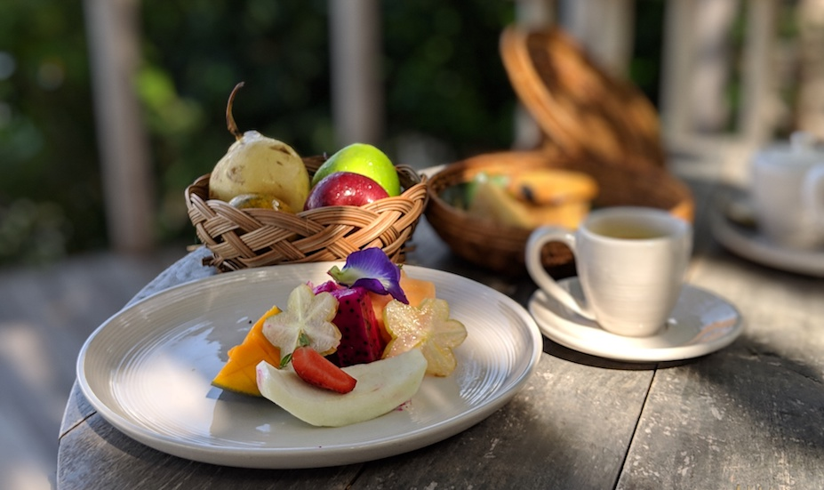 Cempedak Private Island's colourful breakfast with tropical fruits