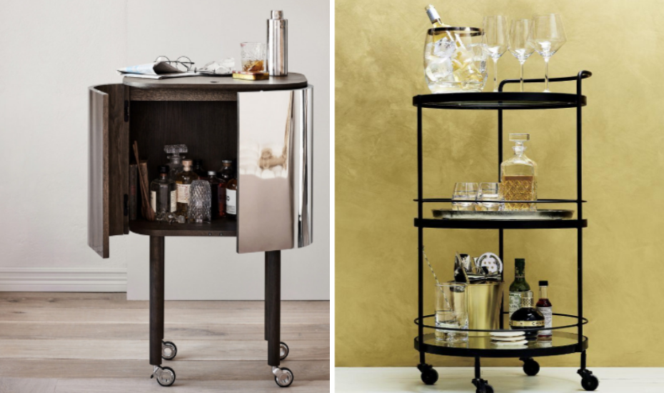 A bar cart or trolley is a great way to show off your collection, assemble a big batch of cocktails or just as a side table