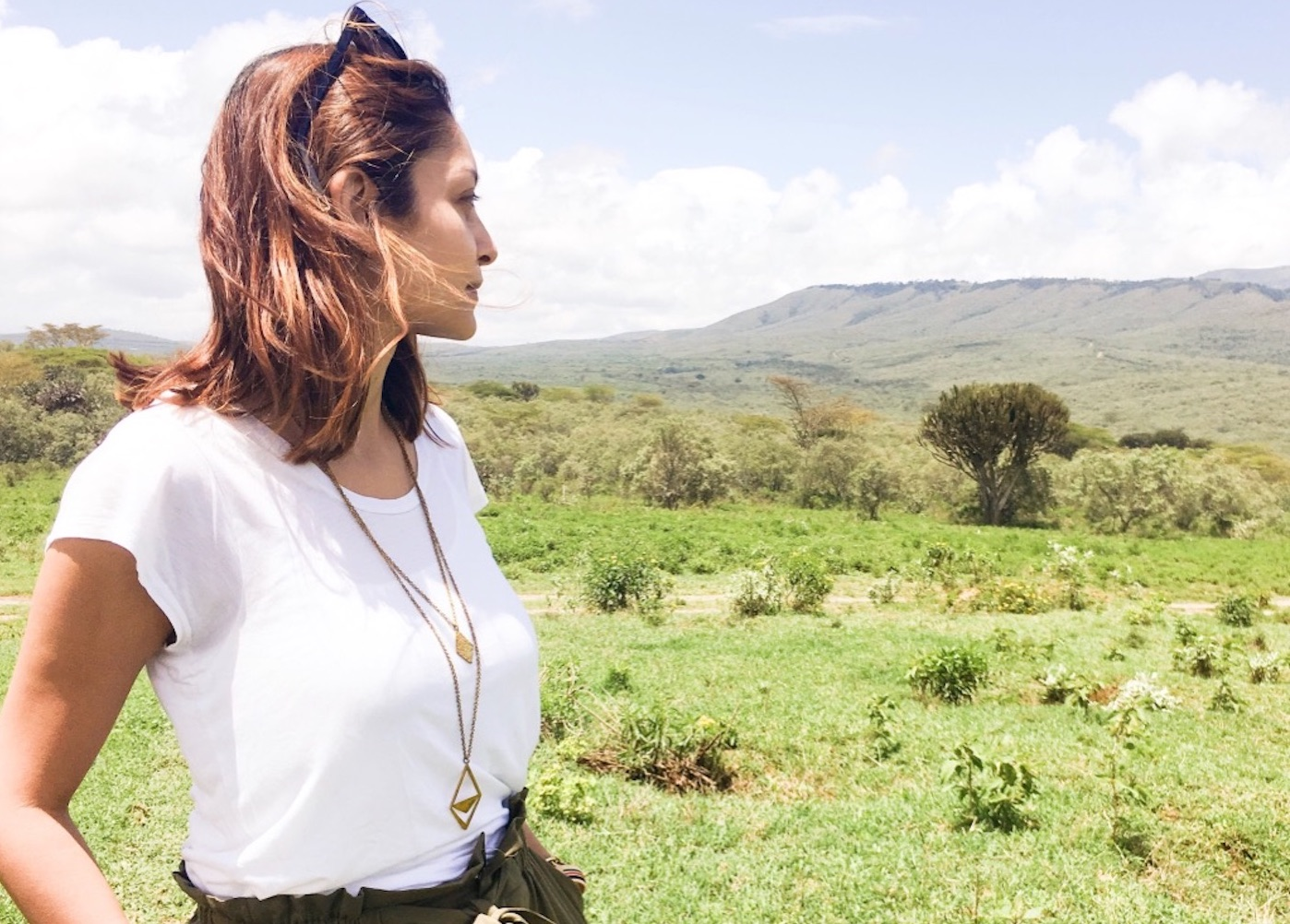 Chetna (wearing the Jicho layered necklace) on one of her visits home to Kenya.