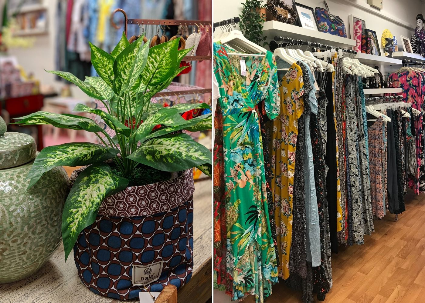 Patterned pot holder by Nala Designs and boho dresses by Indii Breeze at the WYLD Shop Joo Chiat | multi-label boutiques in Singapore