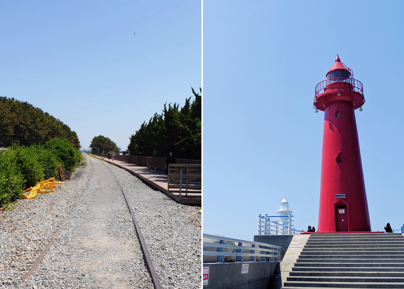 Left: The old railway, right: Cheongsapo lighthouses.