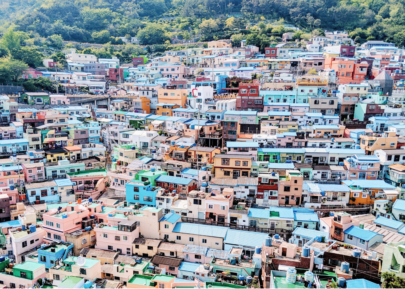 Candy-coloured houses at Gamcheon Culture Village.