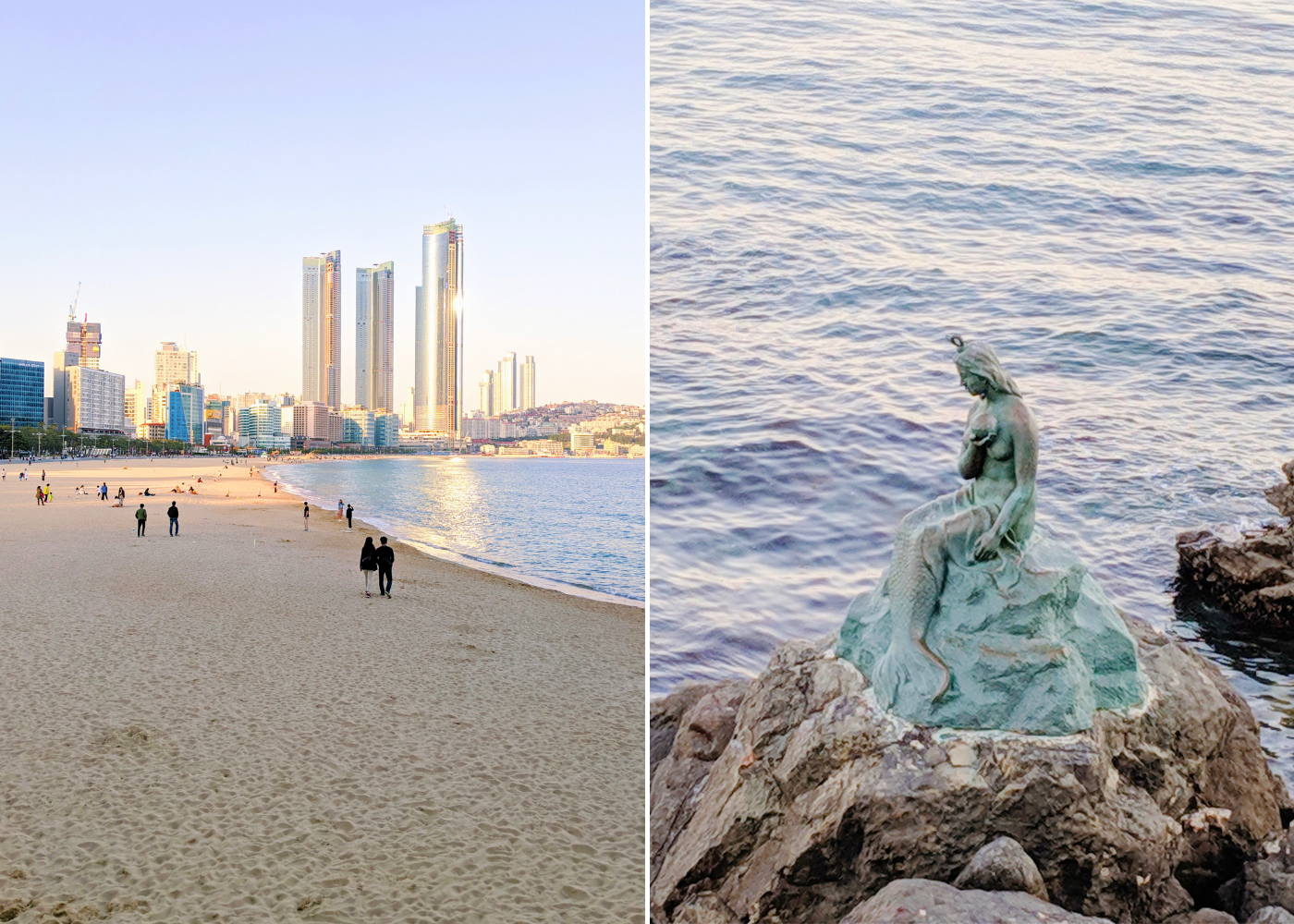 Left: Haeundae Beach, right: Princess Hwangok Statue.