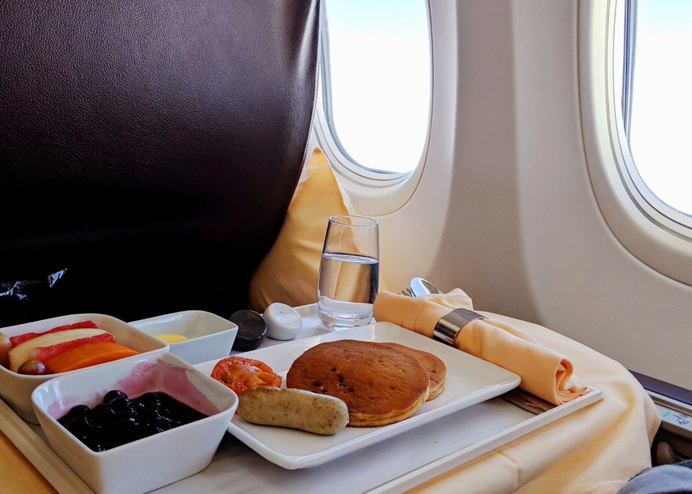 Breakfast pancakes on board the flight.