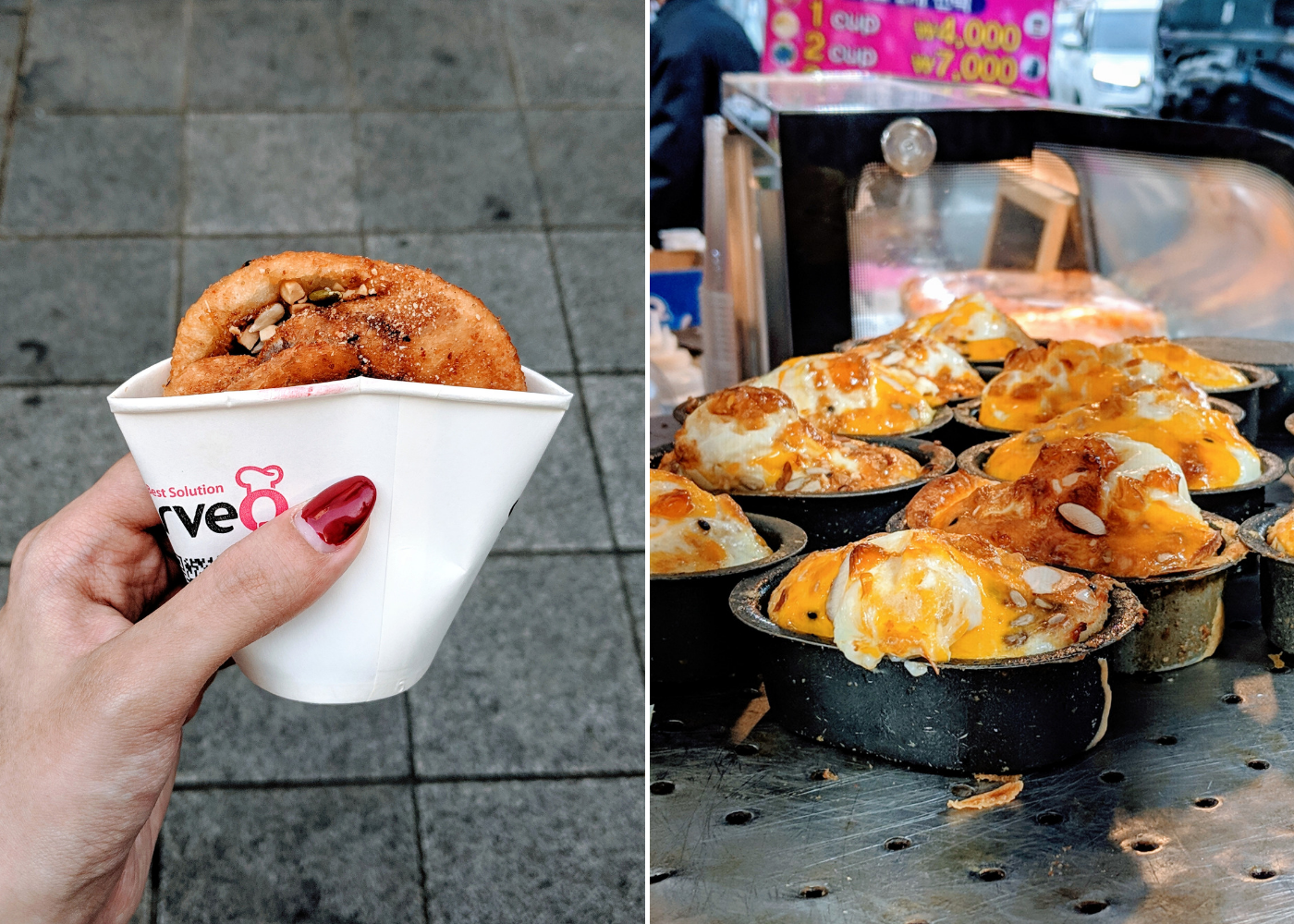 Left: Korean sweet pancake, right: egg bread.