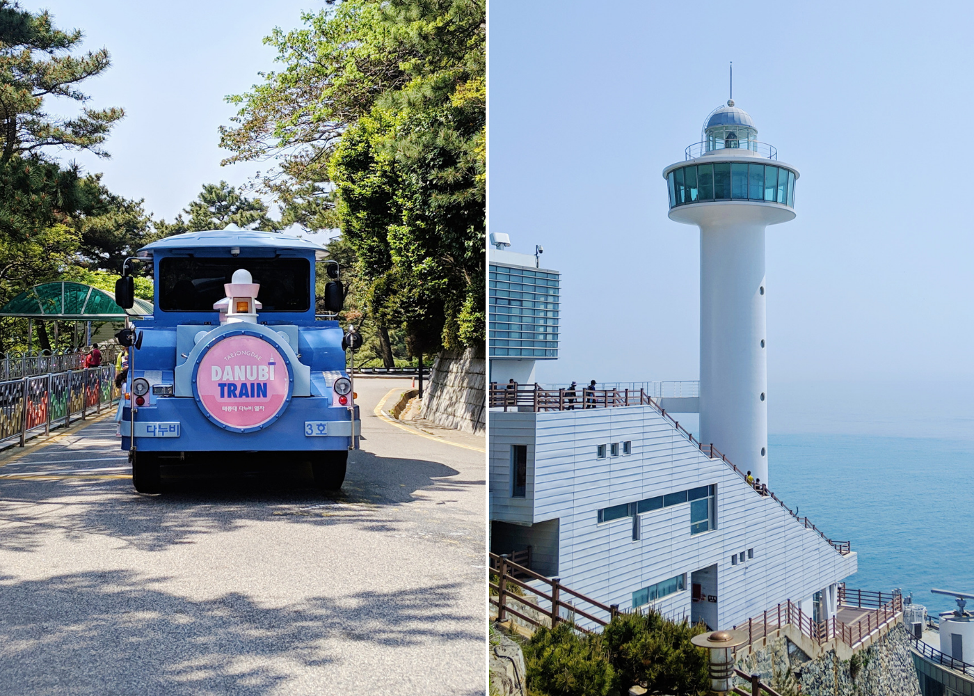 Left: the Danubi train, right: Yeongdo lighthouse.