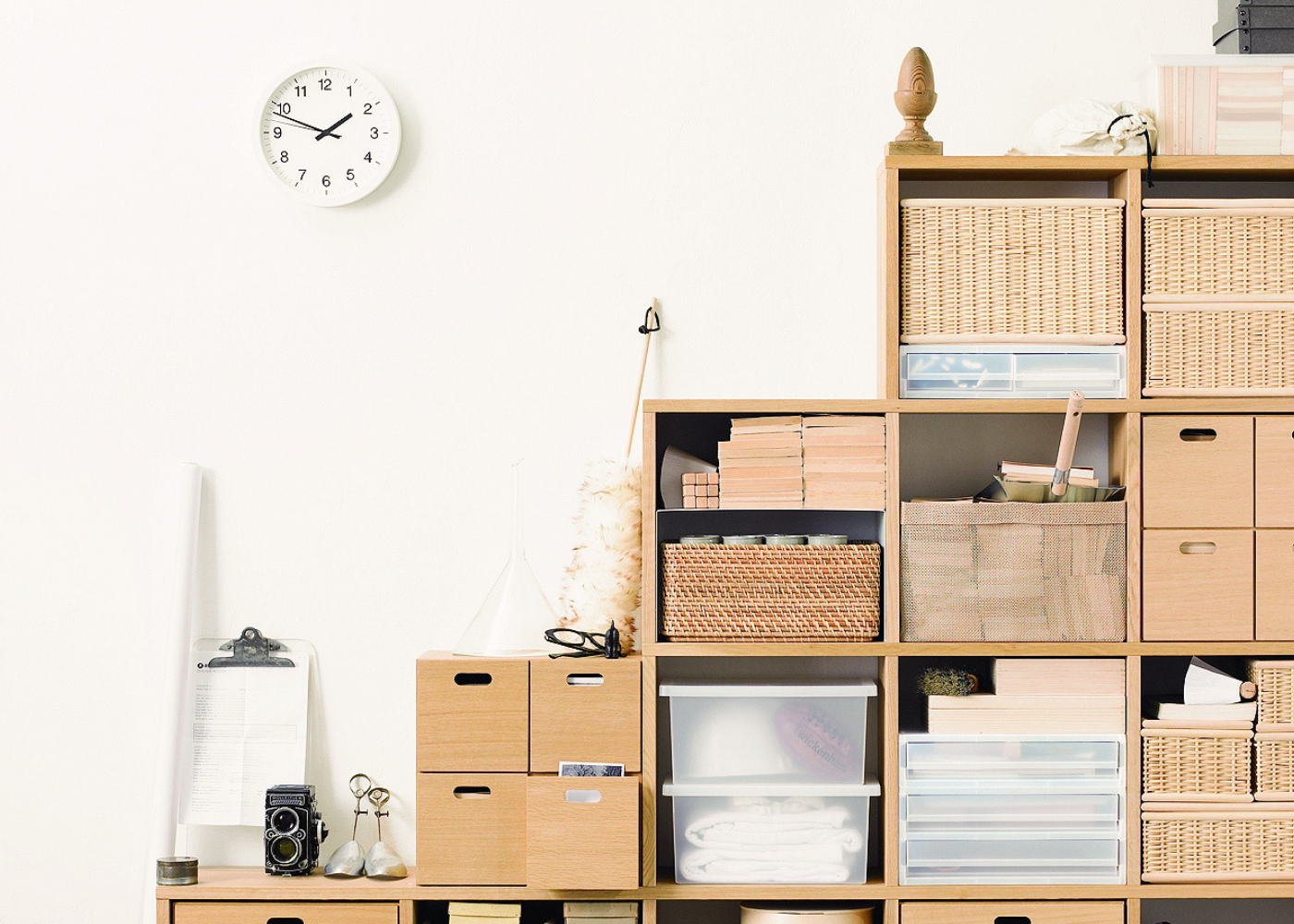 The Muji storage collection makes decluttering easy