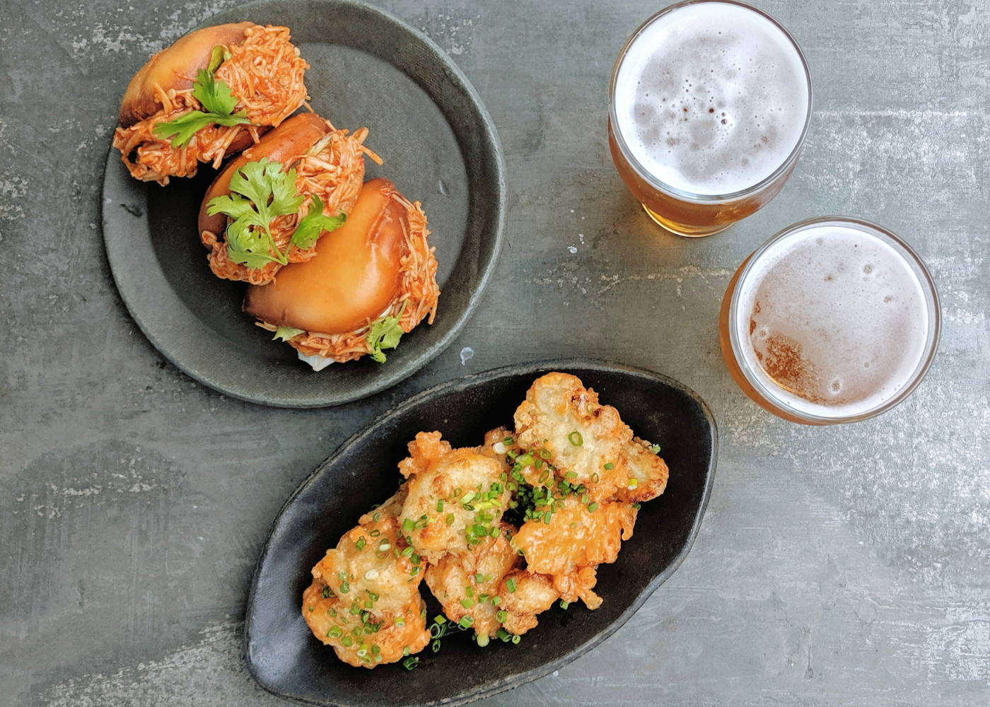 Almost Famous x Meatless: Chili Crab Sliders and Buffalo Cauliflower, with craft beers West Side IPA and Quench Quake Sour. Photography: Amelia Ang