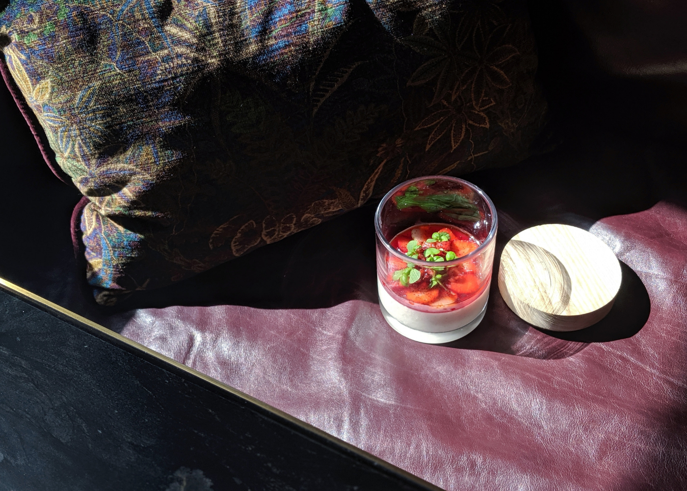 Atlas' panna cotta with strawberry