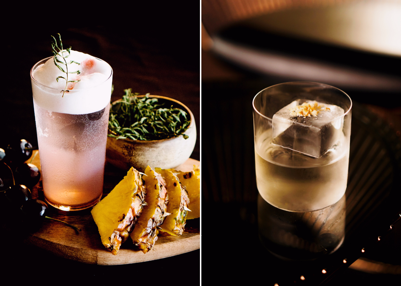 Local flavours made fancy. Left: Robbery At The Museum, right: Rojak Milk Punch. Photography: Smoke & Mirrors