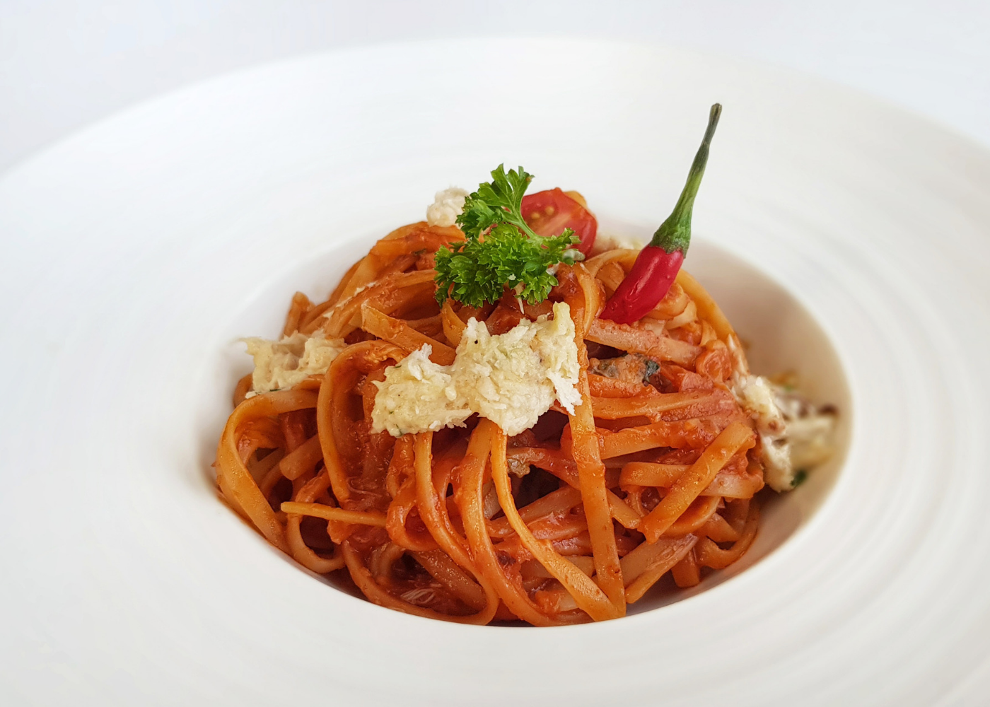 Chilli crabmeat linguine at Lawry's The Prime Rib