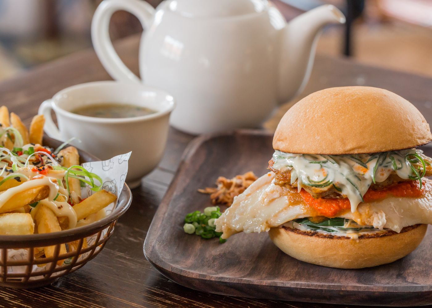 Try Potato Head and Three Bun's chicken rice burger