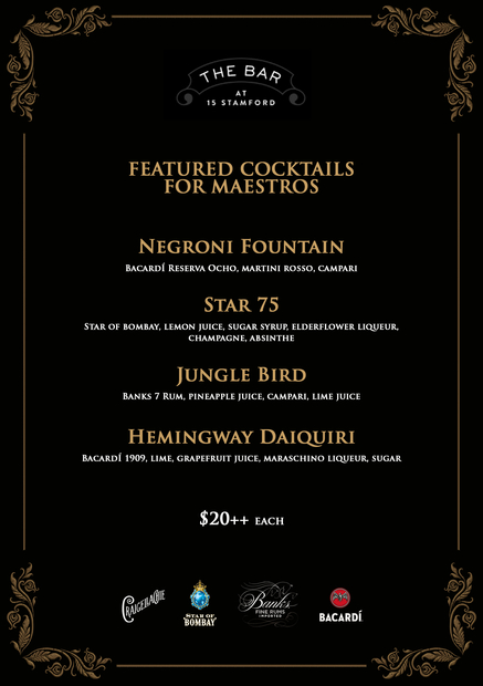 Experience the Maestro Menu with The Bar at 15 Stamford