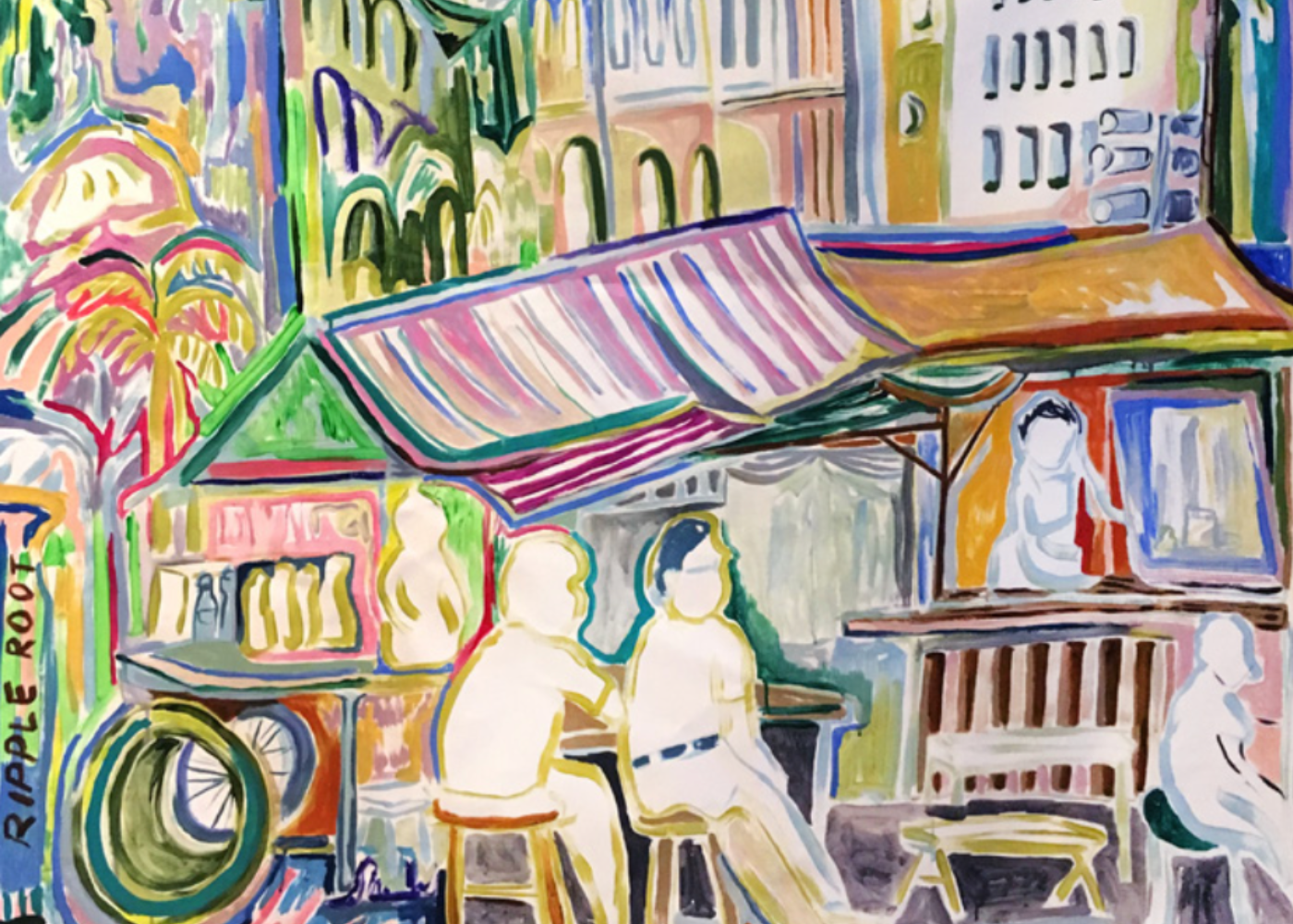 Colourful painting of old Singapore by Ripple Root