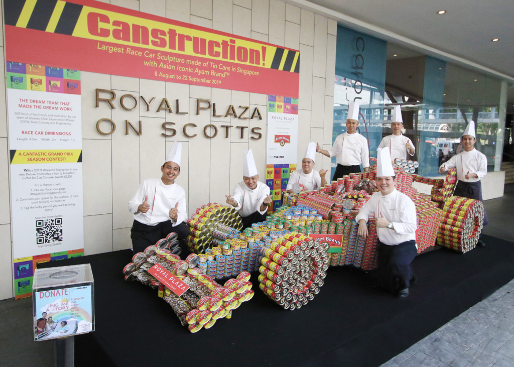 Canstruction: Largest Race Car Sculpture made of Tin Cans in Singapore