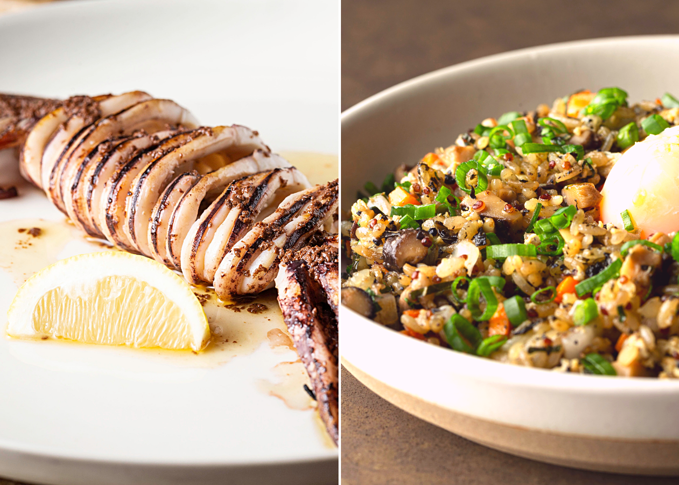 Left: Japanese Flying Squid, right: Black Truffle Fried Rice. Photography: Adrift by David Myers