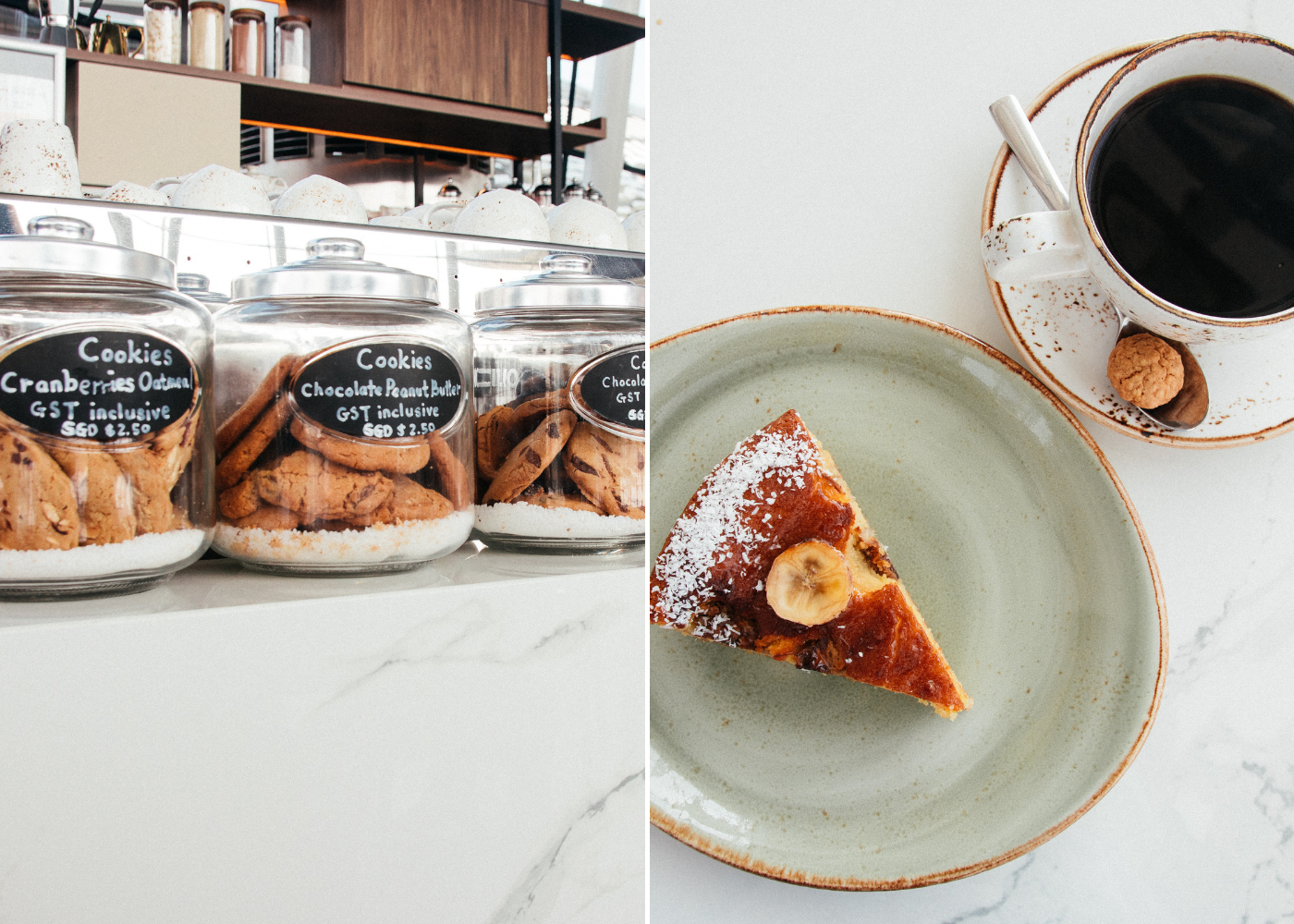 Left: Cookies on display, right: Coconut Banana Tart and French press coffee. Photography: Huanghao Yeo