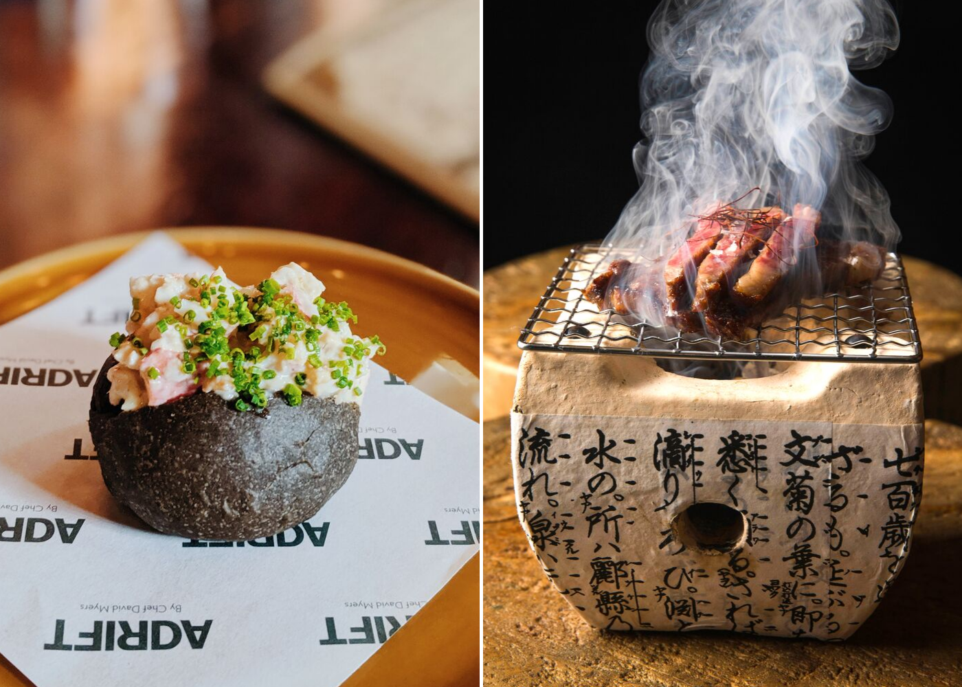 Left: New England Lobster Roll, right: Australian Wagyu Striploin on Coals. Photography: Amelia Ang, Adrift by David Myers