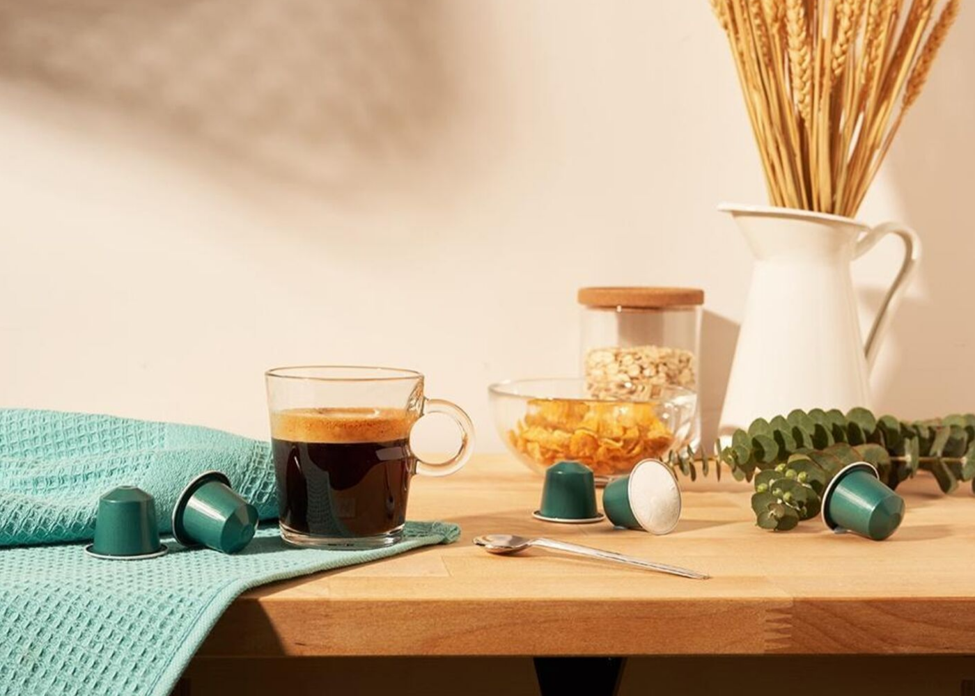 The full-bodied Fortissio Lungo coffee has notes of cereal and malt. Photography: Nespresso