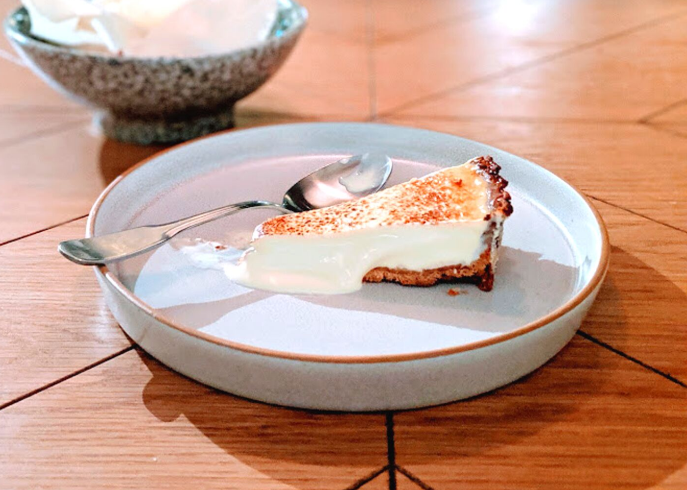 The fan favourite cheesecake and the torrija creation at the back.