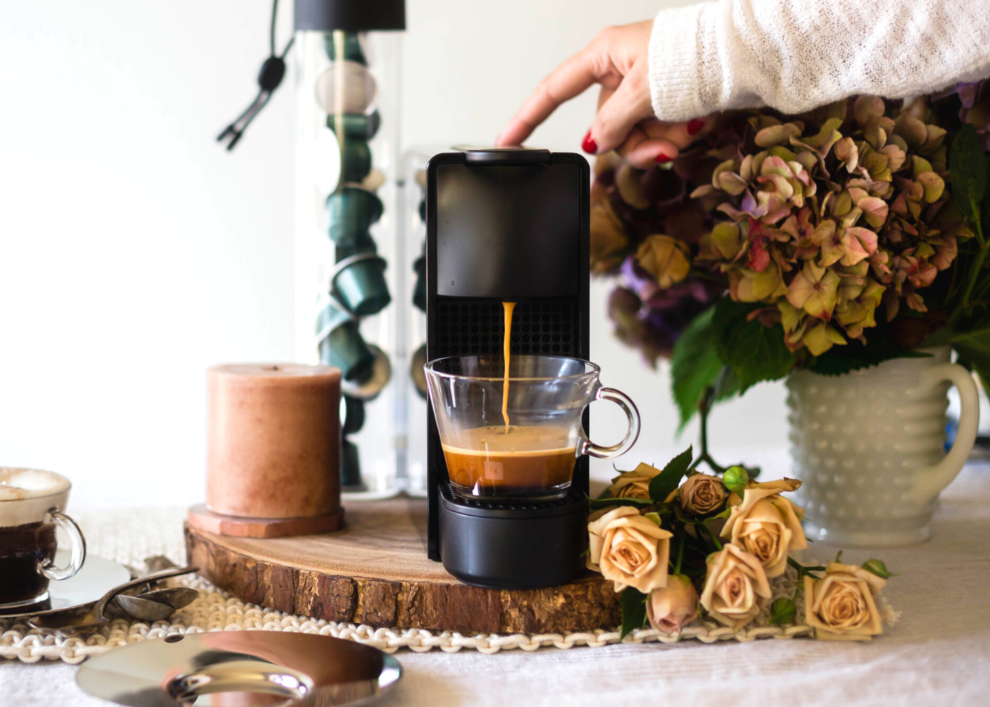 Morning espressos with the Essenza Mini in Matte Black. Photography: Nespresso