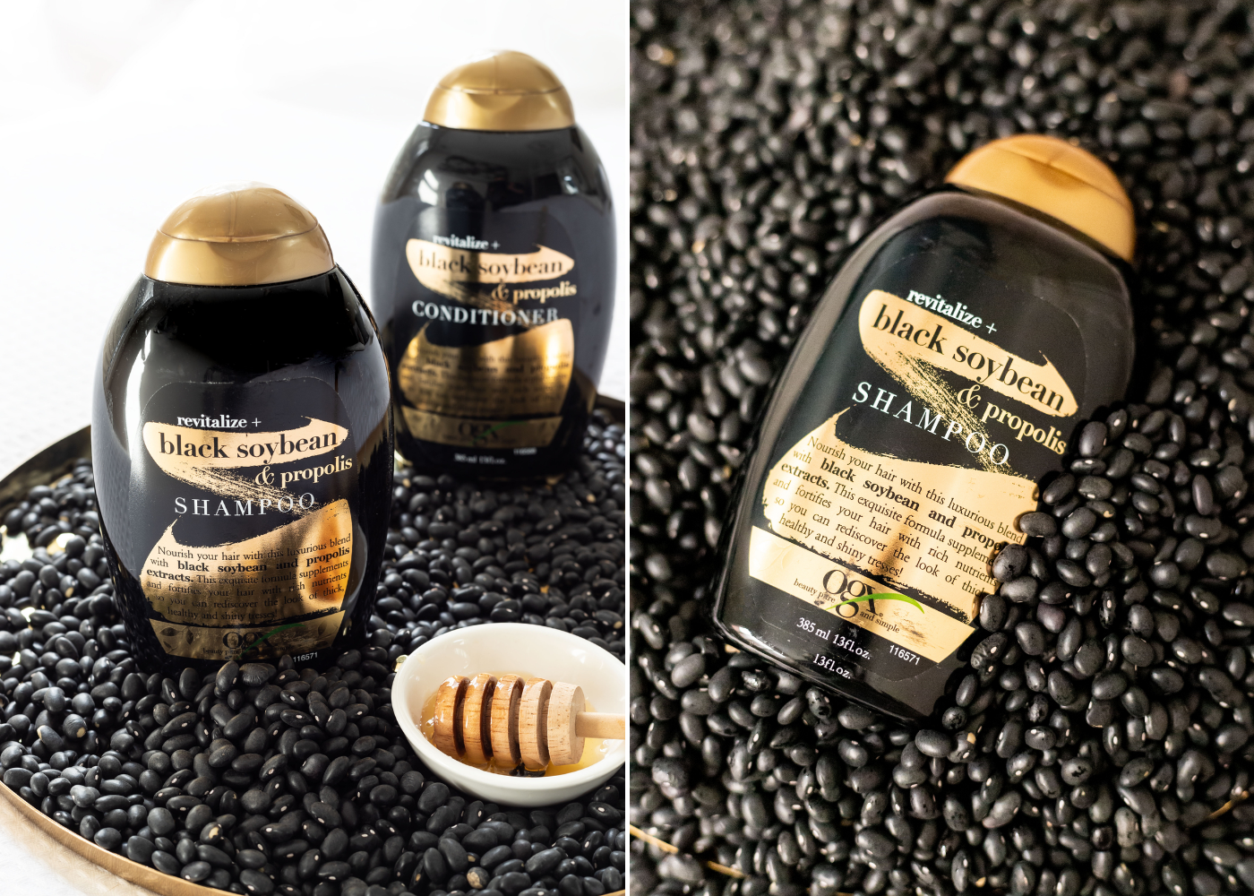The OGX Revitalize+ Black Soybean & Propolis shampoo and conditioner. Photography: OGX