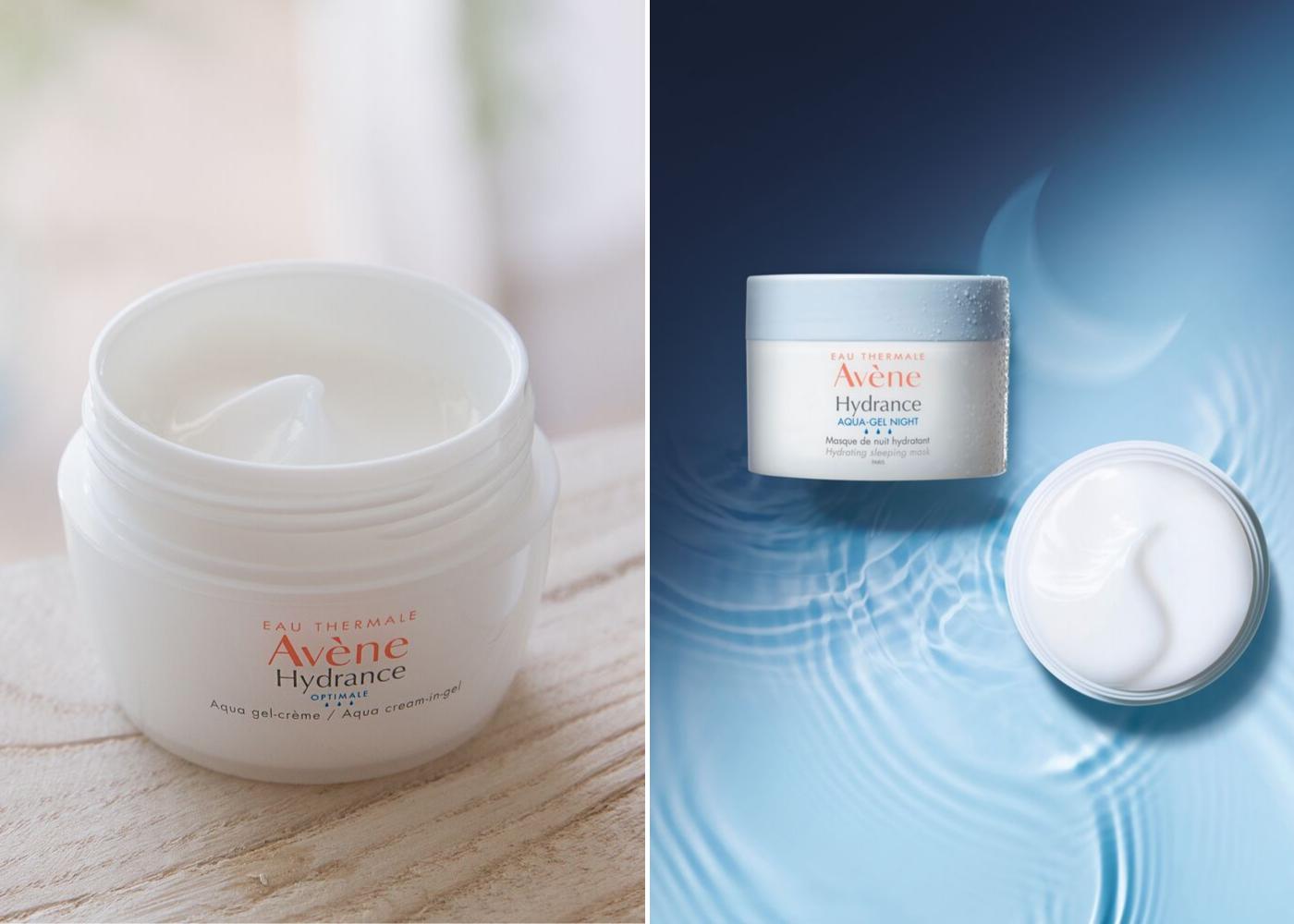 Left: Hydrance Aqua Cream in Gel, right: Hydrance Aqua-Gel Night Hydrating Sleeping Mask. Photography: Avene