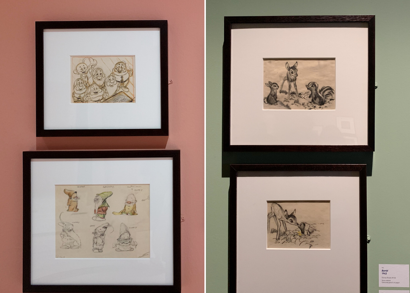 Sketches from Snow White & the Seven Dwarfs and Bambi