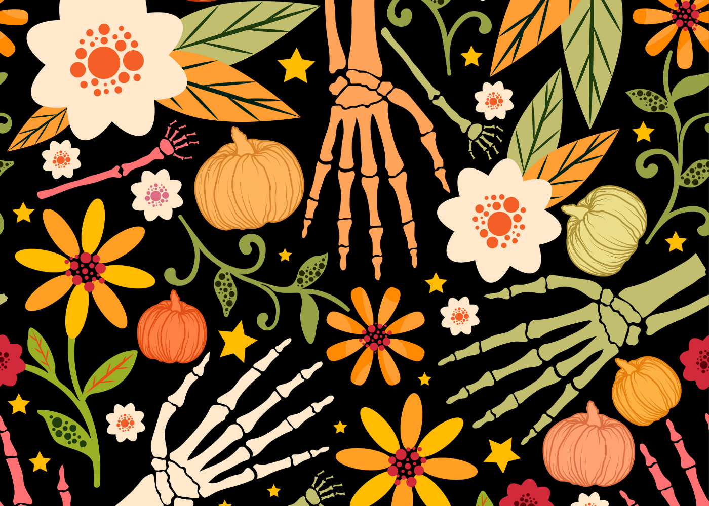 Illustration of skeleton hands with flowers