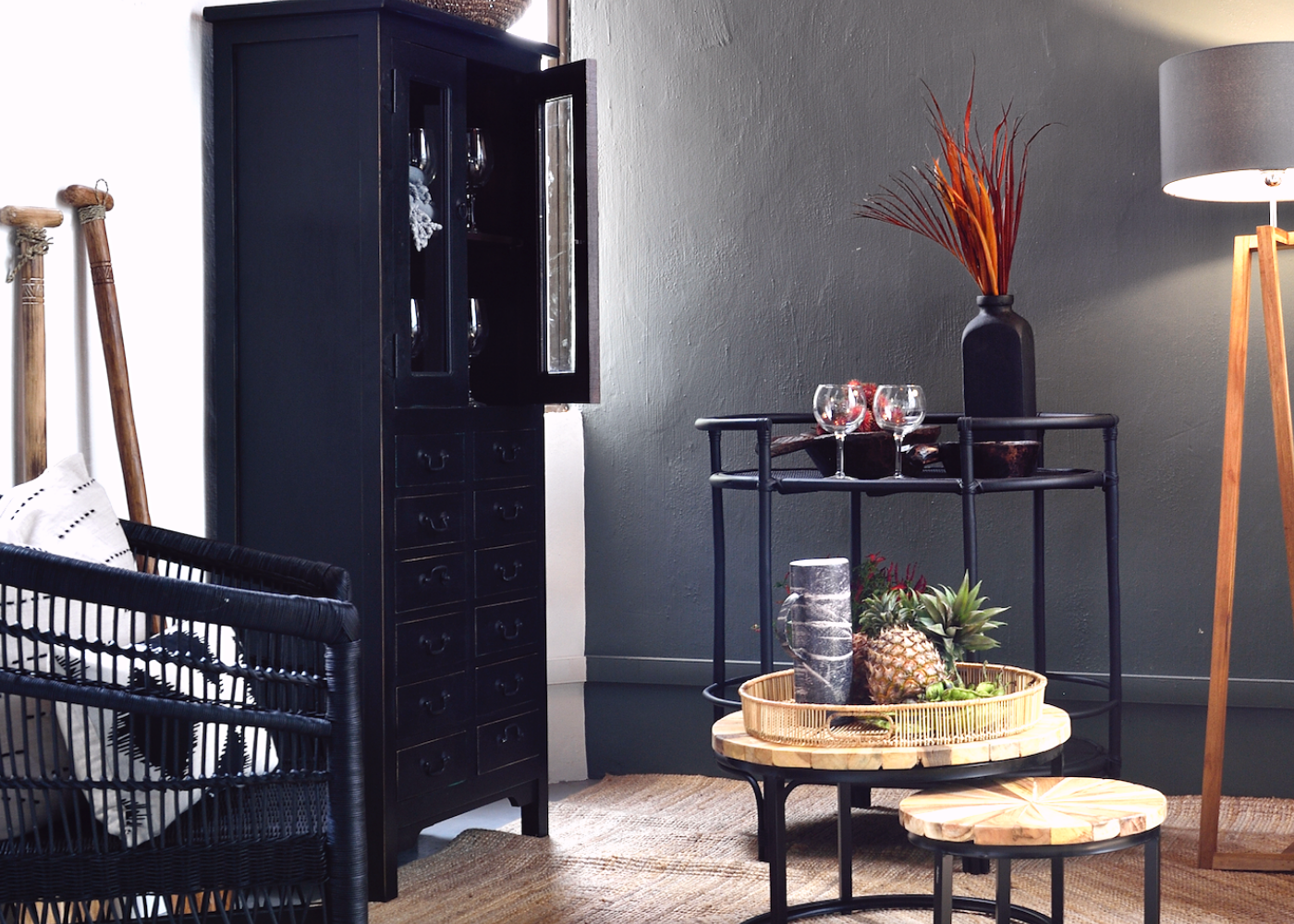 Items featured: Java table with black iron legs and Gineva bar cart from Island Living. Photography: Island Living