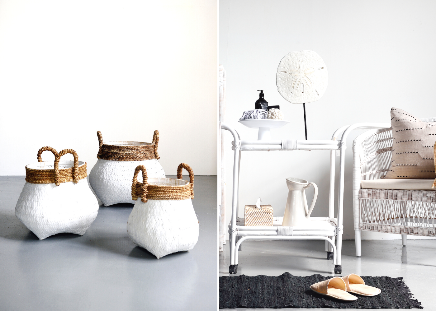 Items featured: Glam round baskets, rattan bar cart and cushion from Island Living. Photography: Island Living