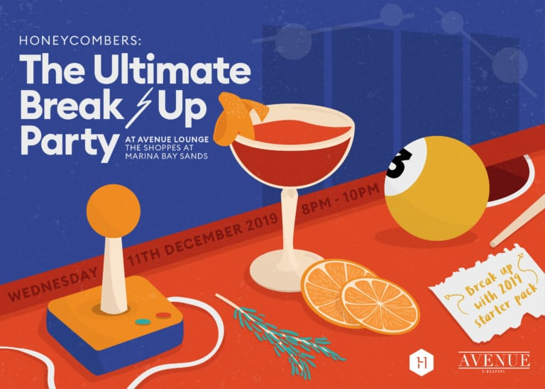 Break up with 2019 at AVENUE Lounge: Join Honeycombers for a night of free flow drinks, karaoke and arcade games
