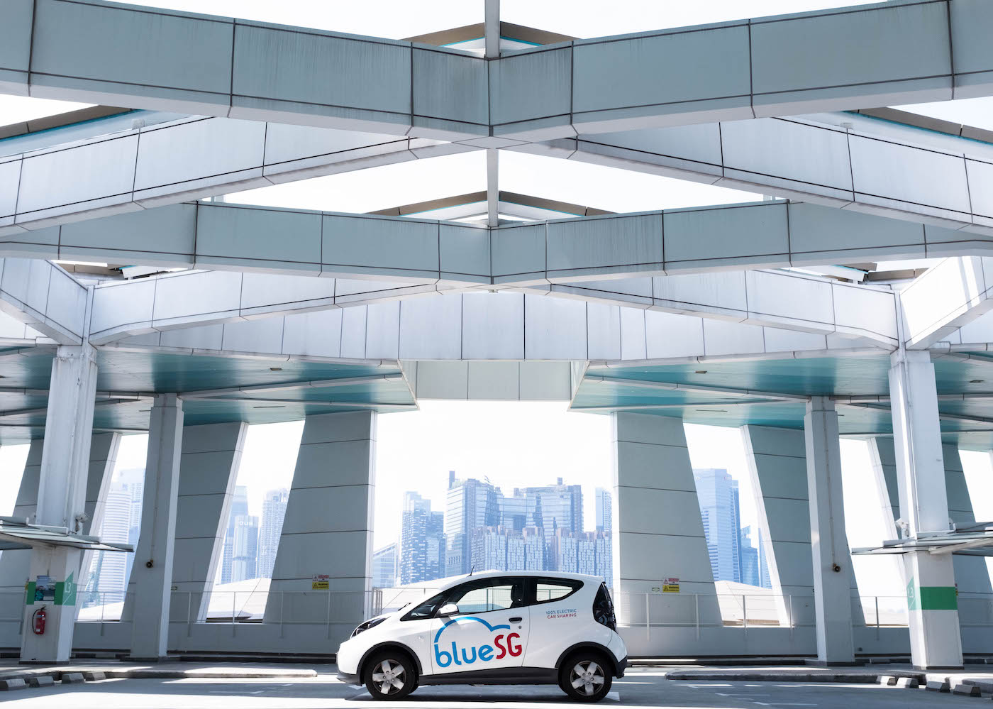 bluesg electric car on the road