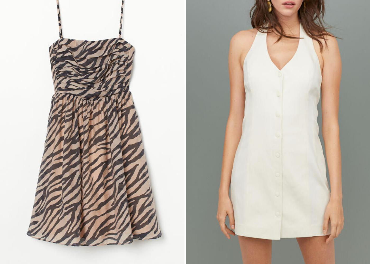 Left: Lyocell-blend bandeau dress, right: short halter neck dress. Photography: H&M Conscious