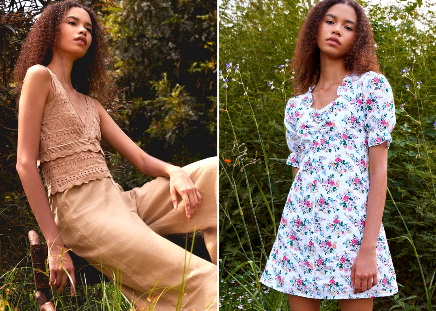 Left: V-neck knit tank and flared ruffle pants, right: floral puffed sleeved dress. Photography: Pomelo Purpose