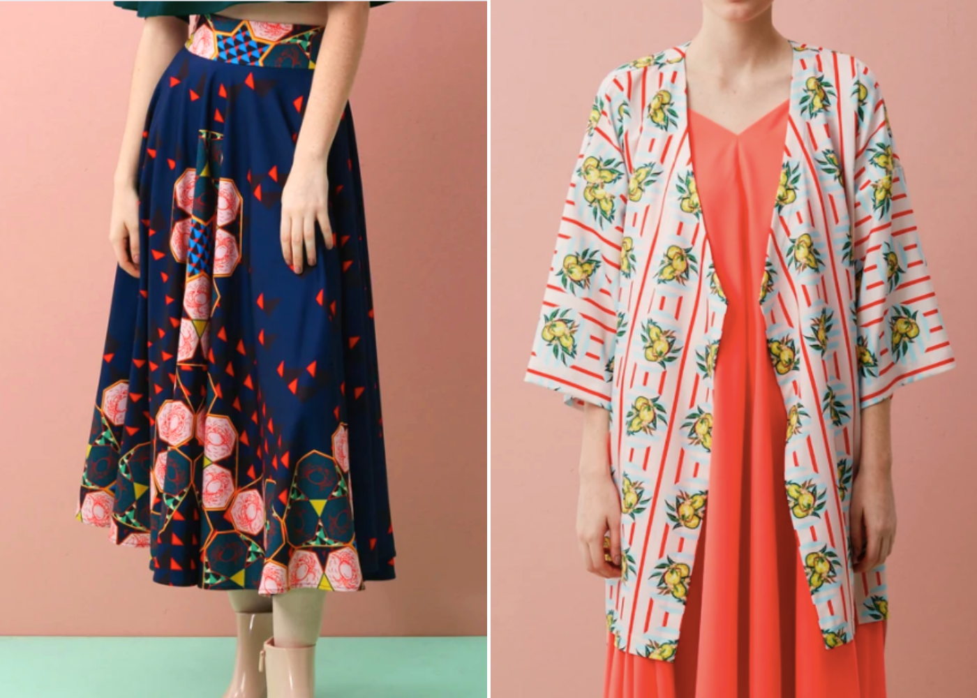 Left: Two-tone fit and flare maxi (chili crab), right: midi kimono jacket (durian). Photography: Reckless Erica