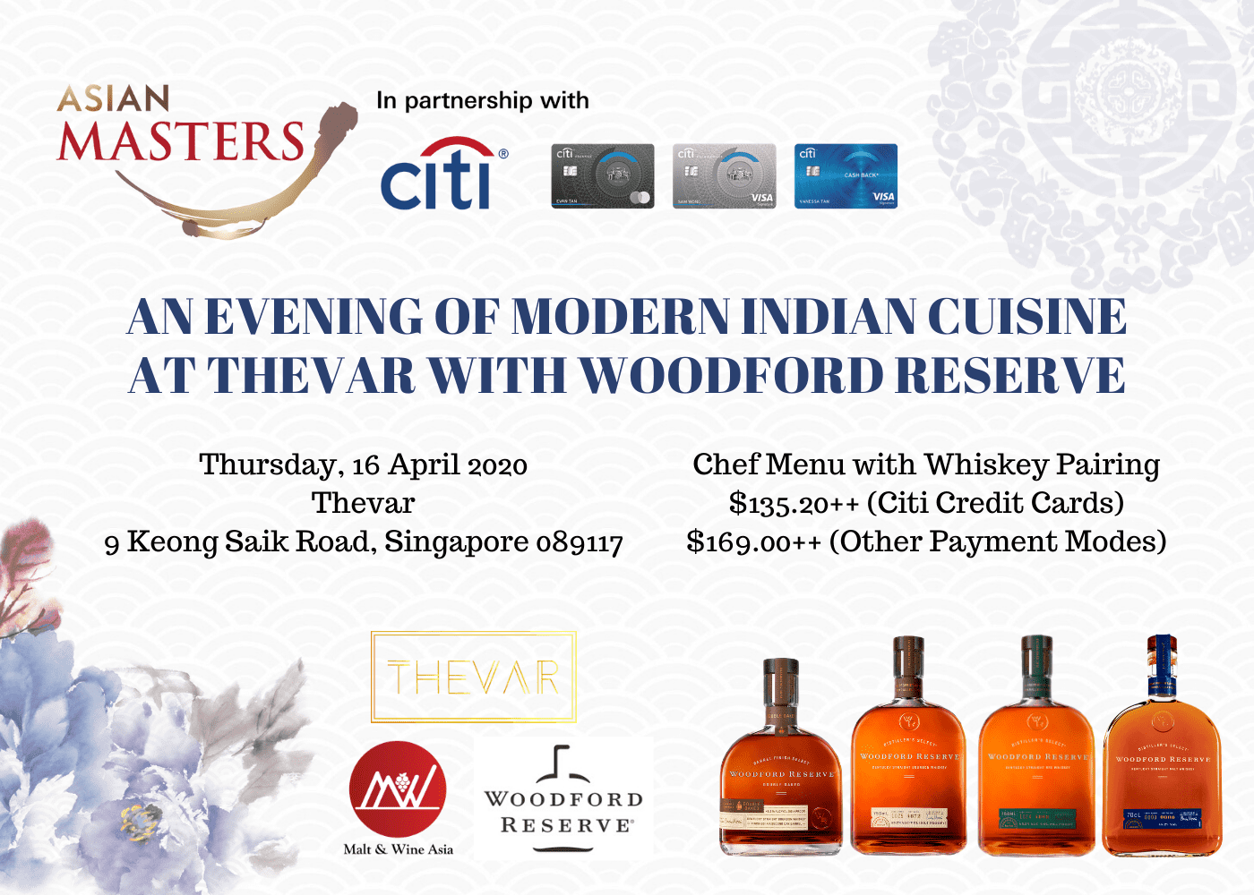 An Evening of Modern Indian Cuisine at Thevar with Woodford Reserve