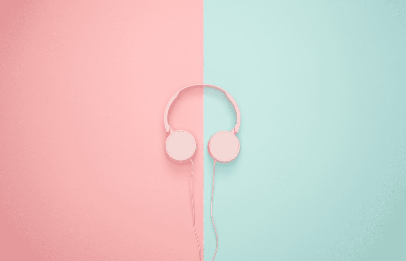 pink and green headphones