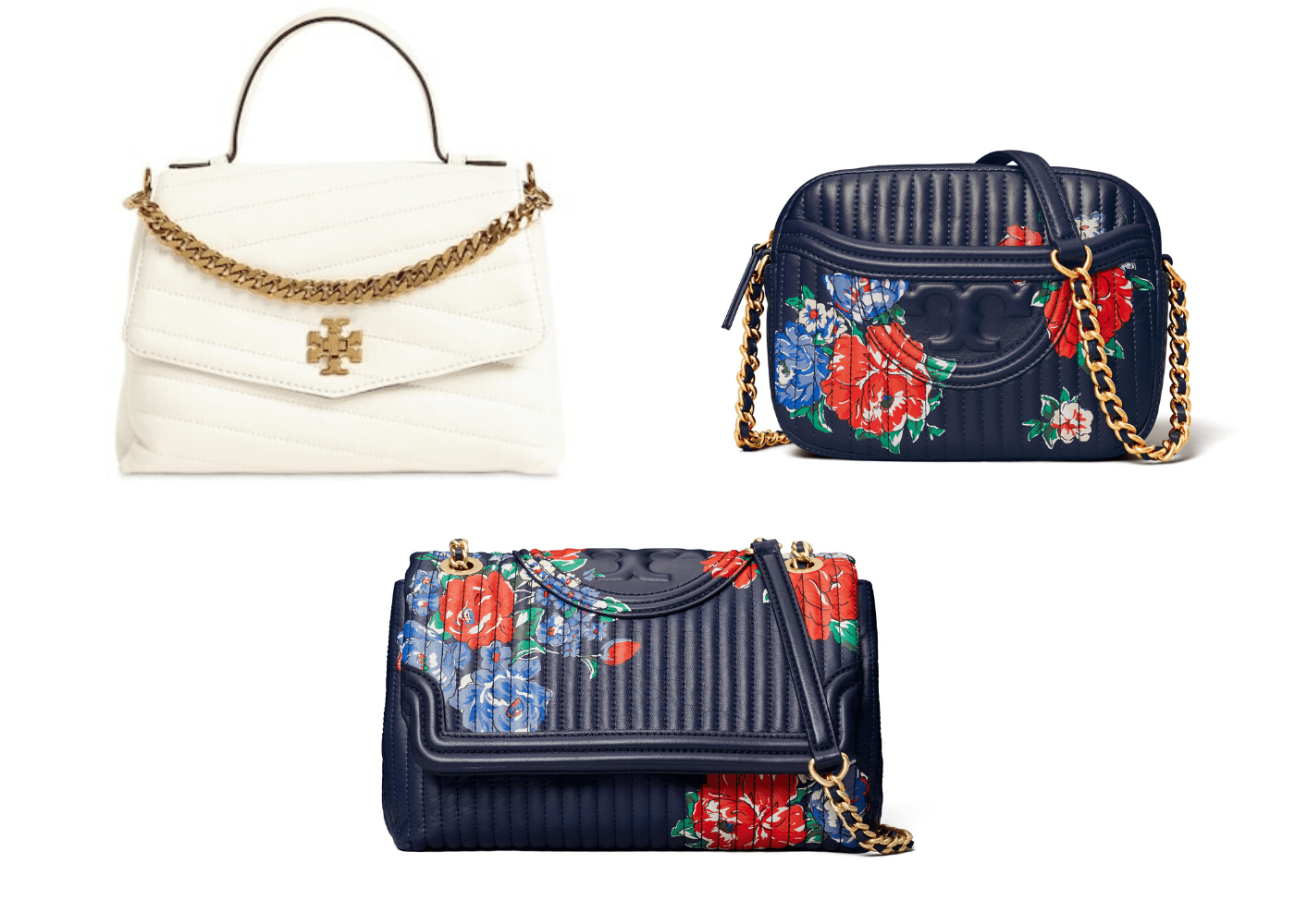 Spring Summer 2020 designer bags to shop online: Tory Burch Kira and Fleming