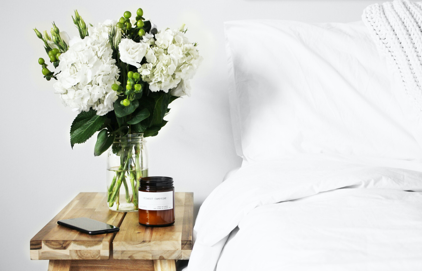 bedside table with plant | self-care