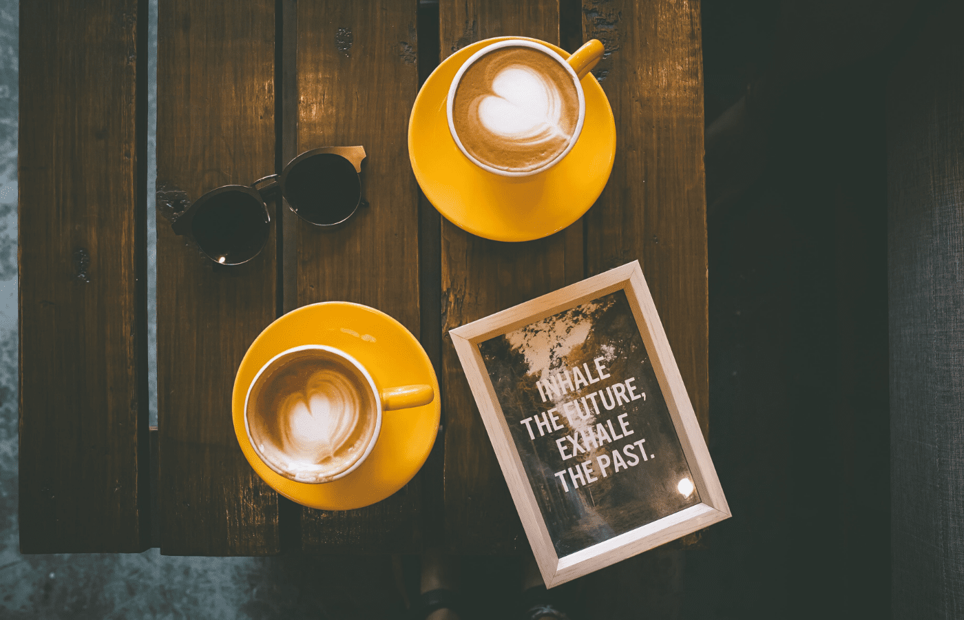 coffee cups with inspirational sign | self-care
