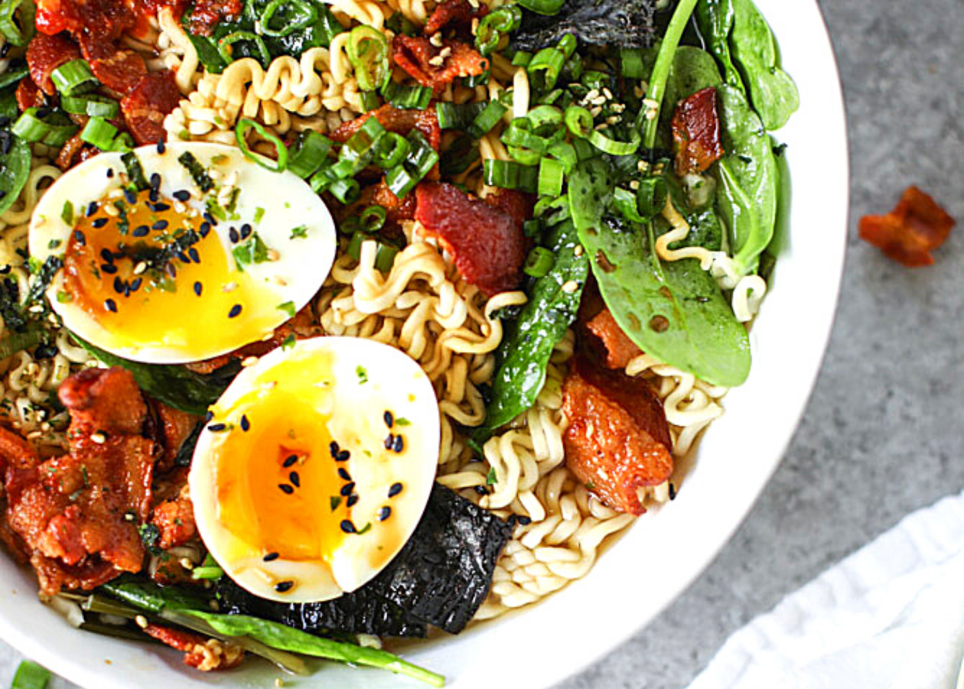 Best upgraded instant noodle recipes: Bacon and eggs ramen