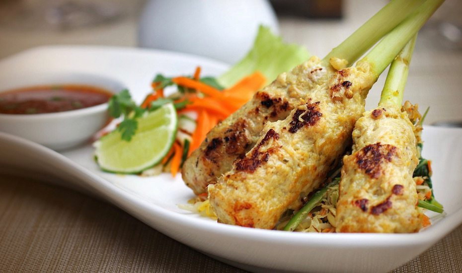 local dishes in Bali - sate lilit