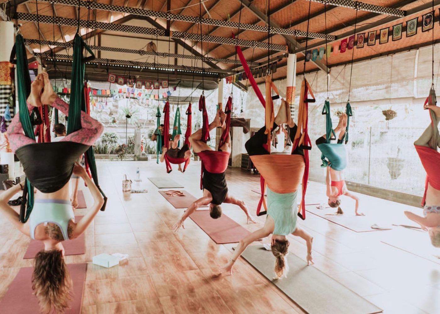 Aerial yoga at Pranava Yoga studio in Canggu, Bali, Indonesia